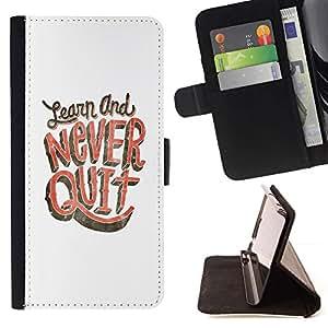 Momo Phone Case / Flip Funda de Cuero Case Cover - Nunca abandone Aprenda Estudio Blanco Rosa - Apple Iphone 4 / 4S