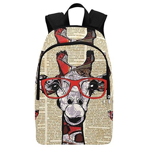 InterestPrint Custom Vintage Newspaper Funny Giraffe Casual Backpack School Bag Travel Daypack Gift