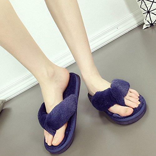 Blu Pantofole da Antiscivolo in Donna 5 morbide Infradito Colori Calde Ancoz vFwxna1T