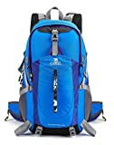CAMEL CROWN 40L Hiking Backpack Water Resistant Outdoor Sports Travel Backpack Rain Cover (Bright Blue, 40L)