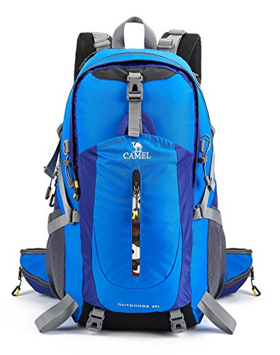 478562b44c Galleon - CAMEL CROWN 40L Hiking Backpack Water Resistant Outdoor Sports  Travel Backpack Rain Cover (Bright Blue