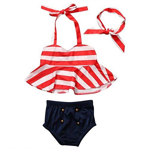 f2c5ff8965f20 Sports Kids Girls Swim 2 Piece Bikini Suit Red & White with Ribbon Cartoon  Print (
