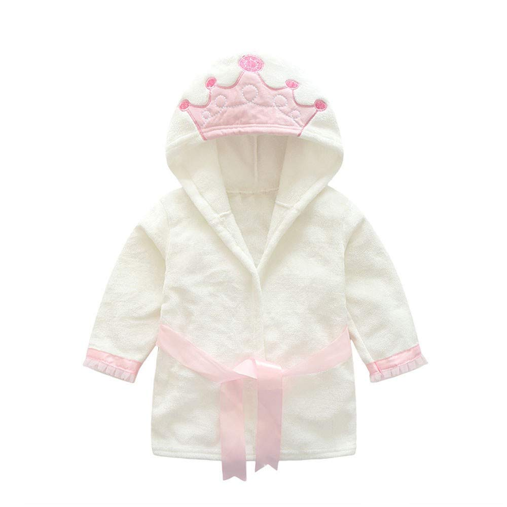NUWFOR Baby Boys Girls Kids Bathrobe Crown Printing Hooded Towel Pajamas Clothes(White,12-18Months) by NUWFOR (Image #1)