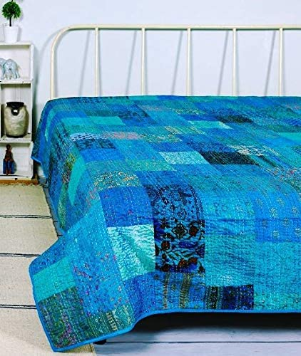King size reversible quilt,block print kantha blanket,handmade bed cover unique kantha throw