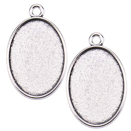 JETEHO 50Pcs Oval Pendant Trays, Oval Cabochon Settings Blank Bezel Connector for Jewelry Making DIY Craft (Antique Silver)