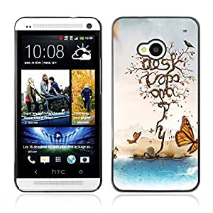 Graphic4You Butterflies, Birds and Trees Painting Design Hard Case Cover for HTC One (M7)