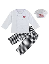 Mombebe Baby Boys' 3 Pieces Chef Clothing Set with Hat