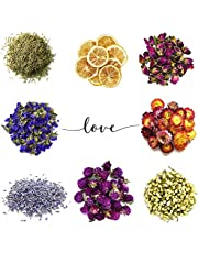8 Bags Natural Dried Flowers Floral Kit for Soap, Candle, Resin Jewelry Making, Bath, Nail, Decoration - Rosemary, Rosebuds, Lavender, Jasmine, Gomphrena, Strawflowers,Forget-me-not