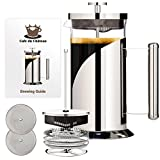 Appliances : French Coffee Maker (8 cup, 34 oz) With 4 Level Filtration System, 304 Grade Stainless Steel, Heat Resistant Borosilicate Glass by Cafe Du Chateau