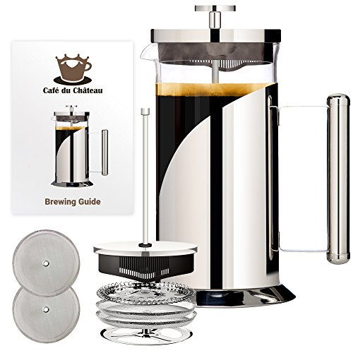 French Press Coffee Maker (8 cup, 34 oz) With 4 Level Filtration System, 304 Grade Stainless Steel, Heat Resistant Borosilicate Glass by Cafe Du Chateau (Top Steel Removable Mesh)