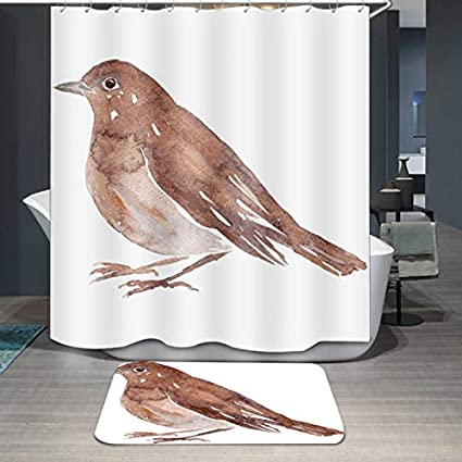 DDOQ Durable 1PC Brown Bird Print Shower Curtain Animal Waterproof Polyester Bathroom Size 180 180cm Amazoncouk Kitchen Home