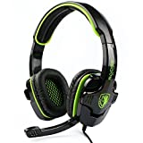 SADES SA708 3.5mm Surround Sound Stereo PC Gaming Headset Headband Gaming Headphones with Microphone Over-the-Ear Volume control(Green)