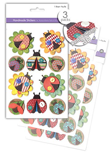 3 Pk Craft Ladybug Stickers, Scrapbook Stickers Embellishments with Real Button Accents, 3D Dimensional Stickers, Handmade Paper Stickers, Pop-up Stickers, Layered Stickers -