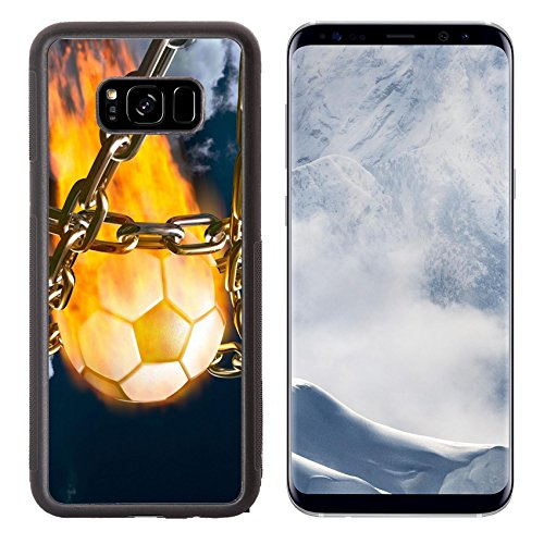 Luxlady Samsung Galaxy S8 Plus S8+ Aluminum Backplate Bumper Snap Case IMAGE ID 2010546 Burning soccer ball tearing chains apart making goal abstract competition concept (Chain Break Apart)