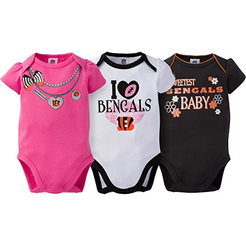 NFL Cincinnati Bengals Girls Short Sleeve Bodysuit (3 Pack), 6-12 Months, Pink