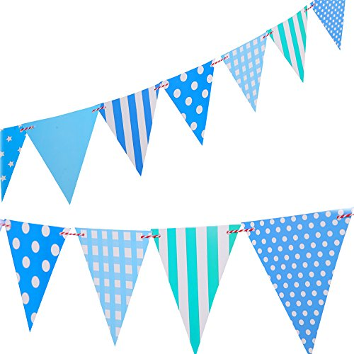 LSENG Birthday Banner Pennant Party Banner Pennant Happy Birthday Flags for Party -Blue(12 Pcs)