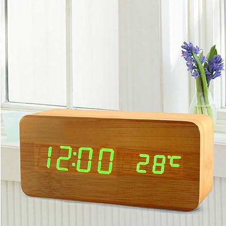Reloj Electrónico Retro, Despertador De Madera Digital, Alarma De Música Despertador Inteligente Silenciosa Electrónica