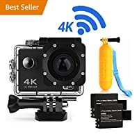 Action Camera 4K16MP WiFi Waterproof Sports Diving Cam DV Camcorder 170° Ultra Wide-Angle Len with Sensor 2 Rechargeable Batteries/Floating Hand Grip and Accessories Kit