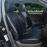 120901S Black-2 Front Car Seat Cover Cushions Leather Like Vinyl, Compatible to HYUNDAI EQUUS ACCENT AZERA TUCSON TUCSON FUEL CELL 2017-2007