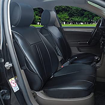 120901S Black 2 Front Car Seat Cover Cushions Leather Like Vinyl Compatible To Toyota