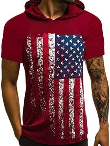 Men Hooded Tops,American Flag Printed Sports Shirts Pure Cotton Pure Large Open-Forked Male Blouse