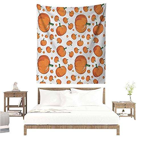 WilliamsDecor Dormitory Decorated Sand Tapestry Harvest Halloween Inspired Pattern Vivid Cartoon Style Plump Pumpkins Vegetable 54W x 72L INCH Suitable for Bedroom Living Room Dormitory