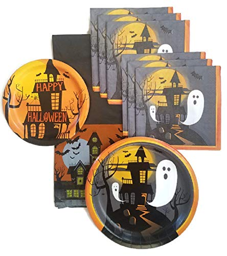 Halloween Party Supplies Paper Plate and Napkin Bundle of 4 - Service for 16 ()