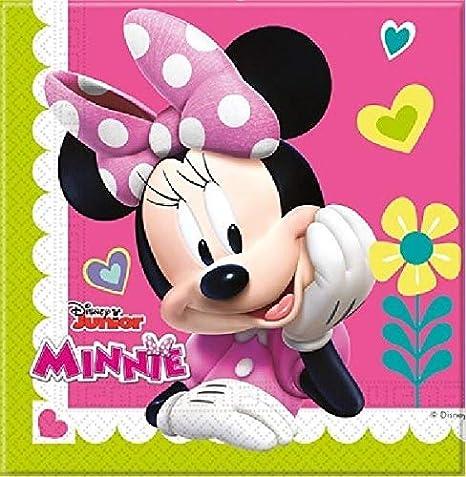 Disney Minnie Mouse Party Decoration Set-Platos Tazas Servilletas Mantel con Globos Gratis Velas Bombas de Globos-Sirve para 16 Invitados
