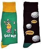 Fine Fit Mens Novelty Trouser Socks 2 Pair Set - Choose Prints (Golf & Fore)