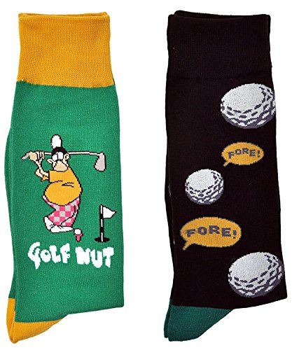 Fine Fit Mens Novelty Trouser Socks 2 Pair Set - Choose Prints (Golf & Fore)