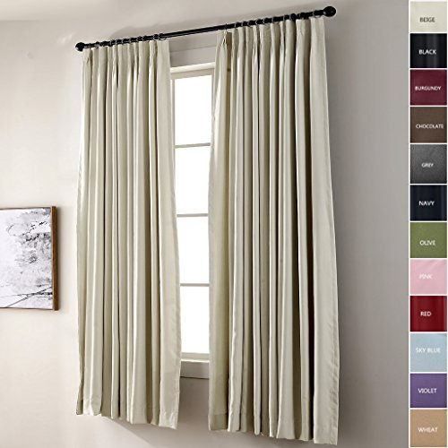 ChadMade Pinch Pleated Curtain 52W x 84L Inch Solid Thermal Insulated Blackout Patio Door Panel Drape For Traverse Rod and Track, Beige (1 Panel) For Sale