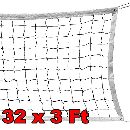 (Yaheetech Portable Volleyball Net Set with Steel Cable/Rope for Outdoor/Indoor/Beach/Backyard Swimming Pool 32 x 3 FT Official Size)