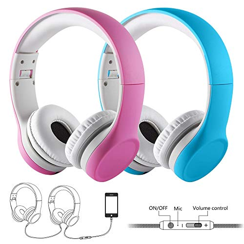 Yusonic Kid Headphones Volume Limited Twin Foldable Small Kids Headphones Toddler headsets for School Boys Girls Children ipad Compatible (2pcs Pink+Blue)