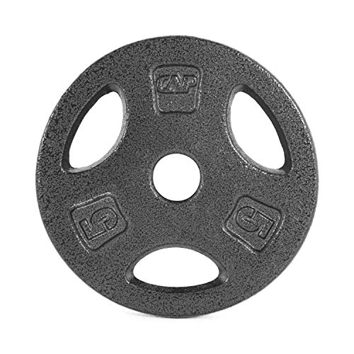 (CAP Barbell Standard 1-Inch Grip Weight Plates, Single, Black, Various Sizes)