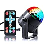 VERKB Disco Ball DJ Light(2rd Generation), 3W LED 7Color Modes Music Night Atmosphere Lamps With Remote Control for Home Party, KTV, Festival or Bar Decoration from VERKB