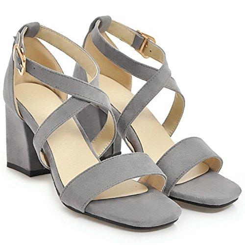Coolcept Women Fashion Block Heel Sandals Gray-88 OyVwe