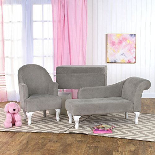 HomePop Diva Youth Velvet Decorative Storage Bench with White Wood Legs, Grey by HomePop (Image #6)