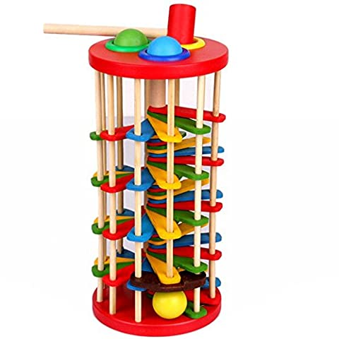 Montessori Education Baby Wood Knocking Ball Ladder Pound and Roll Tower Kids Early Educational Wooden Toys Set