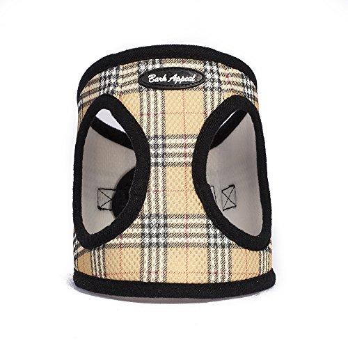 Bark Appeal Plaid Comfort Padded Pet Vest Mesh EZ Wrap Puppy Harness, Small, Tan