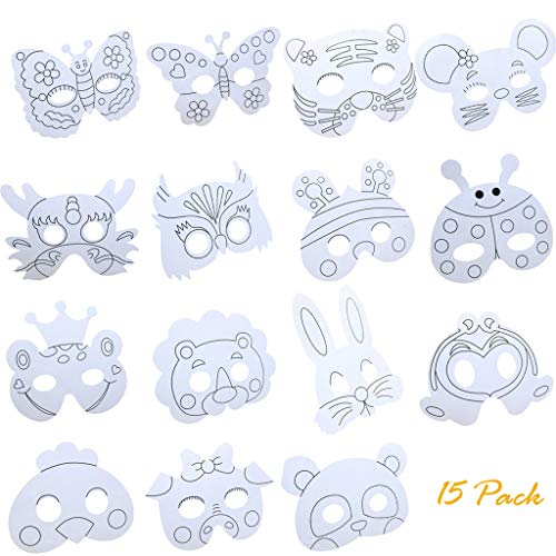 callm 15pcs Children DIY Paper Animal Craft Mask Graffiti Blank Mask Animal Cartoon Children Coloring Painting Mask Party Cosplay Toy Mask