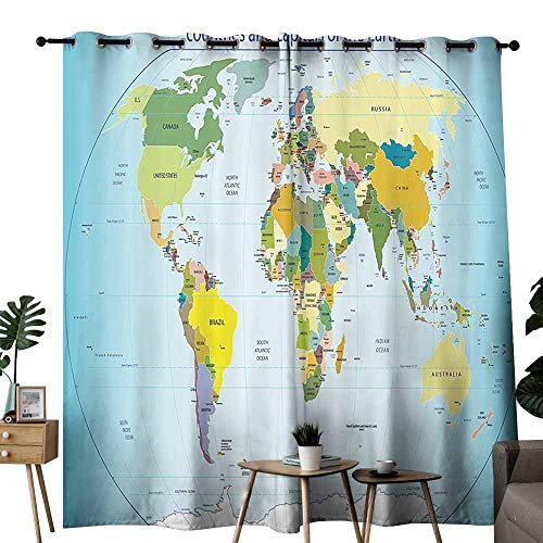 (duommhome Wanderlust Decor Collection Insulated Curtains World Map with Countries and Capital Cities of The Earth with Oceans and Lakes Graphic Art Curtains are Long Lasting W72 xL72 Multi)