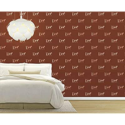 Astonishing Piece of Art, Large Wall Mural Seamless Pattern with Horse Pulling a Cart Vinyl Wallpaper Removable Decorating, Created Just For You