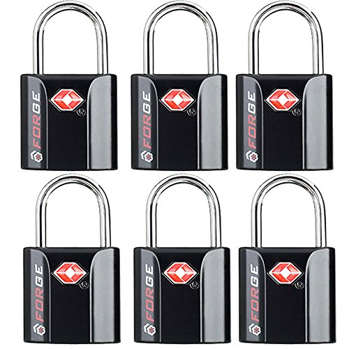 Black 6 Pack TSA Approved Luggage Locks by Forge