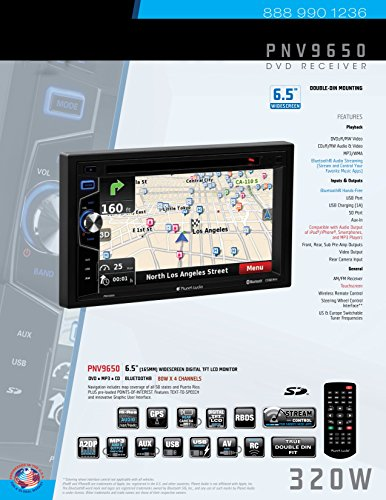 Planet Audio PNV9650 Double Din, Touchscreen, Bluetooth, Navigation, DVD/CD/MP3/USB/SD AM/FM Car Stereo, 6.5 Inch Digital LCD Monitor, Wireless Remote by Planet Audio (Image #5)
