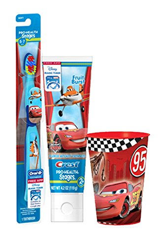Disney's Pixar Cars Extra Soft Manual Toothbrush & Crest 4.2 Oz Fruit Burst Flavored Toothpaste Plus Bonus Car's Mouthwash Rinse -