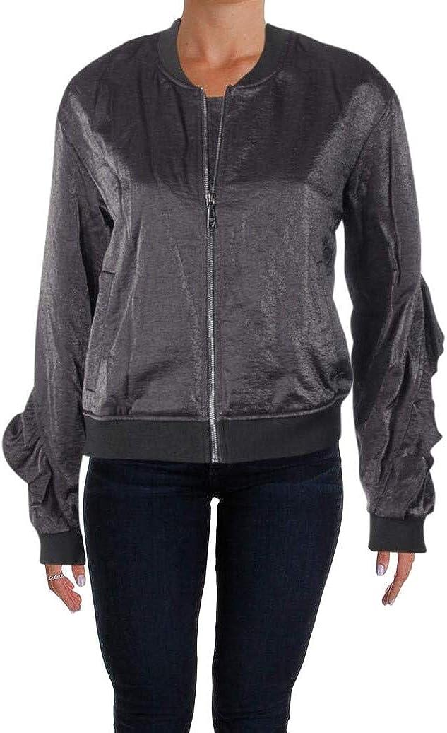 GUESS Womens Biella Ruffled Bomber Jacket