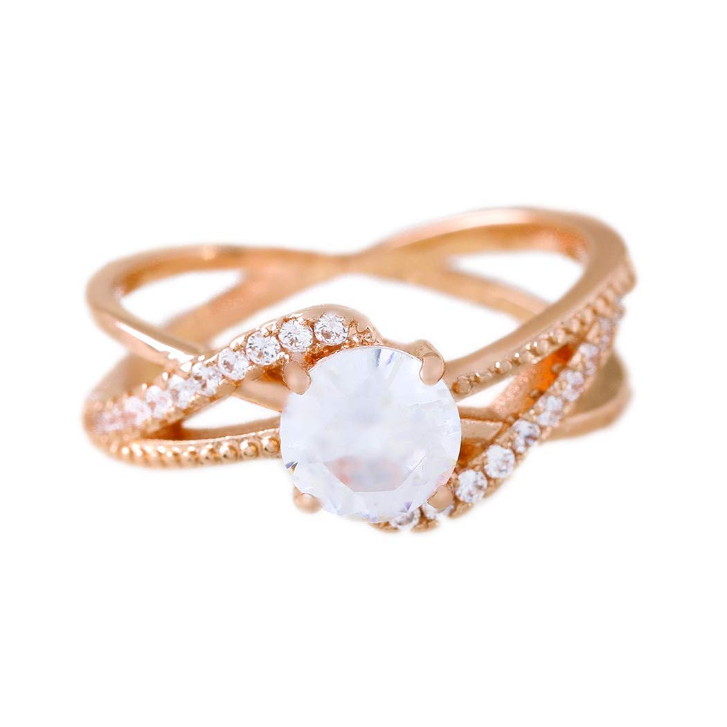 Amazon Com Barogirl Promise Ring Rose Gold Engagement Wedding Bands For Women Cubic Zirconia 8 Beauty