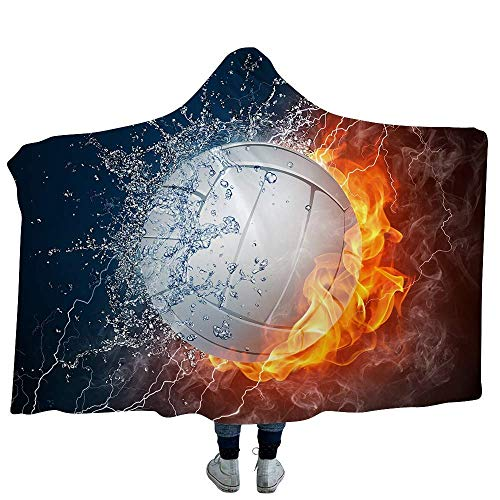 SOFTBATFY Volleyball Hooded Throw Blanket Wrap Sherpa Fleece Wearable Blanket (Adult 80