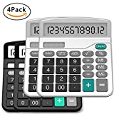 Calculator, Splaks Standard Functional Desktop Calculator Solar and AA Battery Dual Power Electronic Calculator with 12-digit Large Display (2 Basic Black& 2 Updated Silver)
