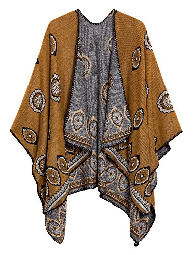 (Women's Vintage Pattern Open Front Poncho Cape Shawl (Series 3-Yellow))